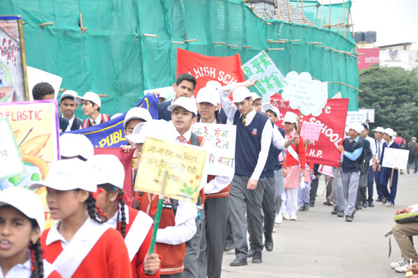 Rally by Students form different locations of Shimla Town and assembled at Gaiety